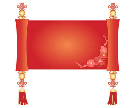 an illustration of a decorative chinese scroll parchment in red and gold with a blossom deign isolated on a white background Çizim