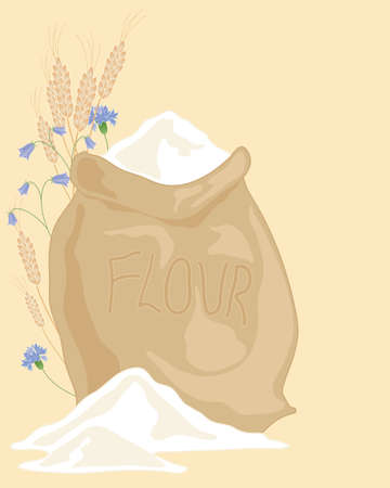 an illustration of a hessian sack of flour with ears of wheat and wildflowers on a beige background Vector