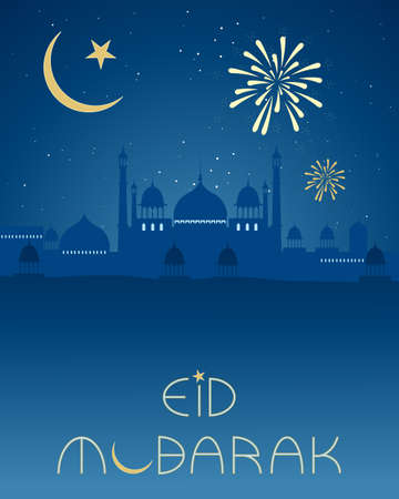 an illustration of an eid greeting card with asian architecture islamic crescent moon and fireworks on a night sky background