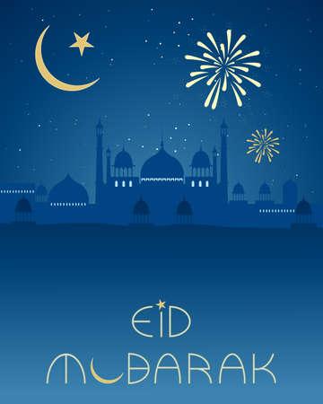 croissant de lune: une illustration d'une carte de voeux de l'A�d � l'architecture asiatique croissant de lune islamique et feux d'artifice sur un fond de ciel de nuit