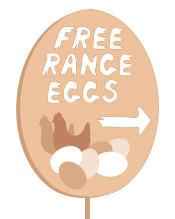 free range: an illustration of a home made free range egg sign with lettering and illustration isolated on a white background Illustration