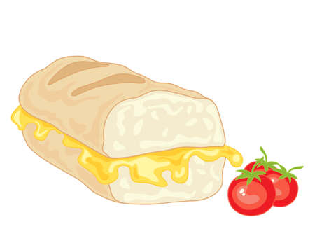 an illustration of a delicious grilled cheese sandwich in a fresh baguette with melted cheese and cherry tomatoes isolated on a white  Vector