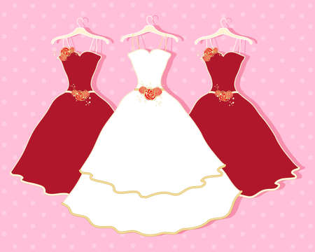 pink dress: an illustration of a white wedding dress and two red bridesmaid dresses with god and red flower decoration on a pink background