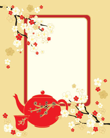 an illustration of an oriental greeting card with blossom flowers teapot and blank card on a gold background Vector