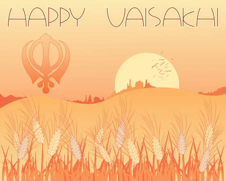 india food: an illustration of a vaisakhi greeting card with harvest scene and sikh symbol at sunset