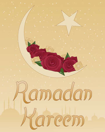 an illustration of a ramadan greeting card with red and gold roses in a crescent moon with stars and islamic architecture