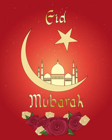 an illustration of an eid greeting card with islamic crescent moon mosque and roses on a red background Vector