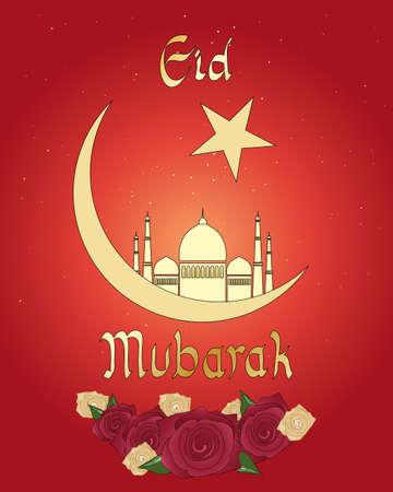 croissant de lune: une illustration d'une carte de voeux de l'A�d avec le croissant de lune islamique mosqu�e et roses sur un fond rouge Illustration