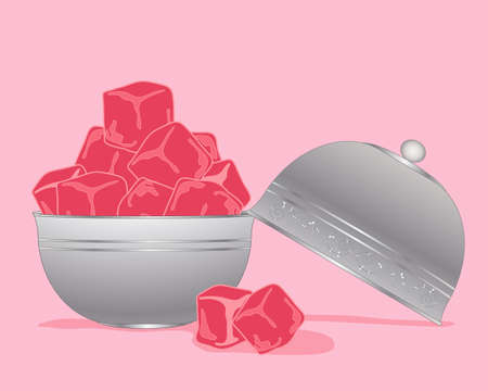 turkish delight: an illustration of pink turkish delight in cubes in a metallic silver bowl and lid on a pink background