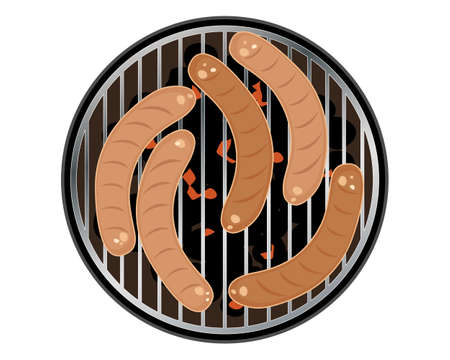 sizzle: an illustration of sizzling sausages on a round barbeque cooker isolated on a white background