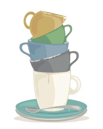 een illustratie van een stapel vuile servies klaar om te worden up geïsoleerd op een witte achtergrond gewassen