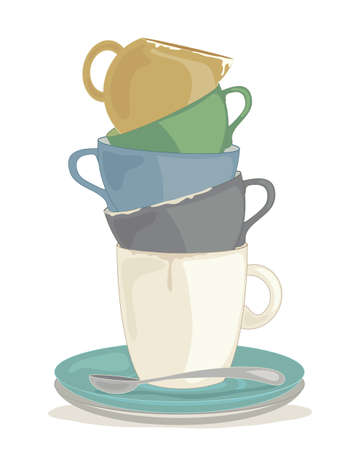 an illustration of a stack of dirty crockery ready to be washed up isolated on a white background Illustration