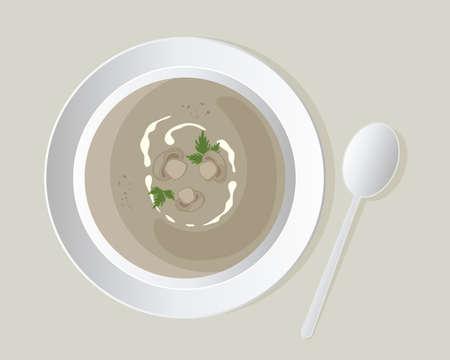 koriander: illusztrálására aa tál finom gombaleves gomba szeleteket, koriander levelekkel, fehér edények bézs háttérrel Illusztráció