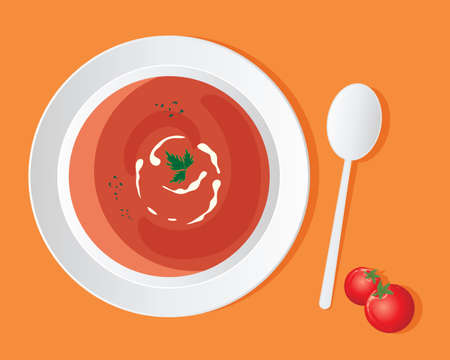savoury: an illustration of a a bowl of delicious tomato soup with cream swirl and coriander garnish on an orange background