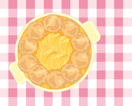 an illustration of a cobbler dessert with delicious fruity peach slices surrounded by home made fluffy scones and thick sauce on a gingham tablecloth Ilustrace