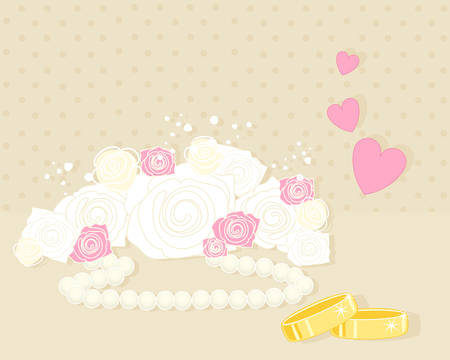 an illustration of an anniversary greeting card with white and pink roses wedding rings and love hearts on a beige background Vector