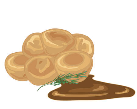 gravy: an illustration of a stack of individual golden yorkshire puddings with a sprig of rosemary and a pool of gravy isolated on a white background