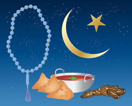 iftar: an illustration of iftar food including samosas and dates prepared for ramadan festival with blue prayer beads and an islamic crescent moon and star on a starry night background Illustration