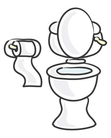 an illustration of a cartoon style white ceramic toilet and toilet roll holder on a white background Vector