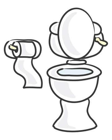 Una ilustración de un blanco tocador de cerámica y aseo portarrollos estilo de dibujos animados sobre un fondo blanco Foto de archivo - 29257247