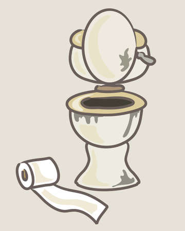 toilet roll: an illustration of a cartoon style dirty unhygienic toilet and toilet roll on a beige background