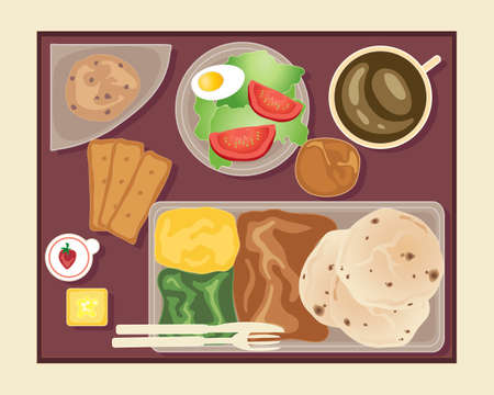 an illustration of a tray of food served on an aeroplane  Vector