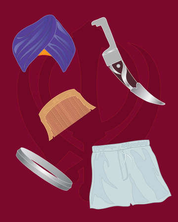 sikhism: an illustration of the symbols of the five ks of sikhism kesh kirpan kangha kara and kachera
