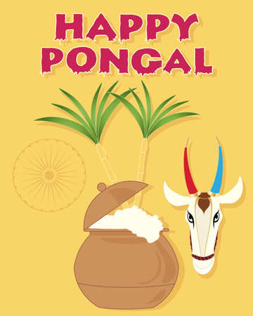 pongal: an illustration of a happy pongal greeting card with overflowing pot sugar canes a cow head and india symbol on a mustard background Illustration