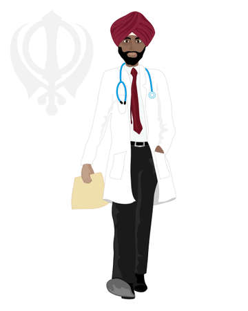 sikh: an illustration of a smart sikh doctor walking along with maroon turban white coat and stethoscope on a white background with sikh emblem Illustration