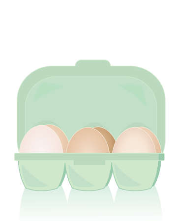 free range: an illustration of a box of organic free range fresh eggs on a white background with reflection