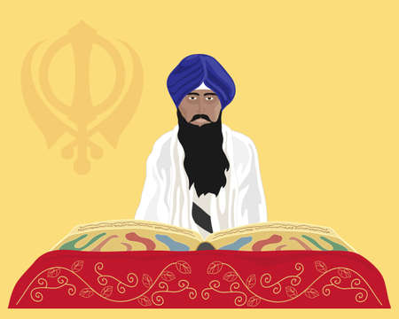 an illustration of a granthi narrator of the sikh faith reading from the holy book sri guru granth sahib ji with mustard background and sikh emblem Ilustração