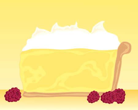 meringue: an illustration of a slice of lemon meringue pie on a yellow background with raspberry garnish Illustration