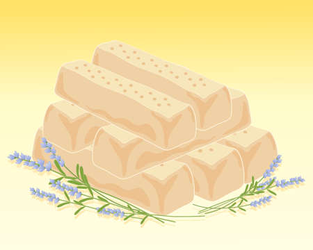 shortbread: an illustration of a stack of freshly made lavender shortbread with lavender decoration on a honey background Illustration