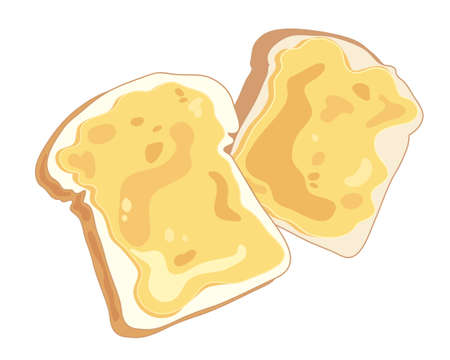 melted cheese: an illustration of two slices of cheese on toast on a white background