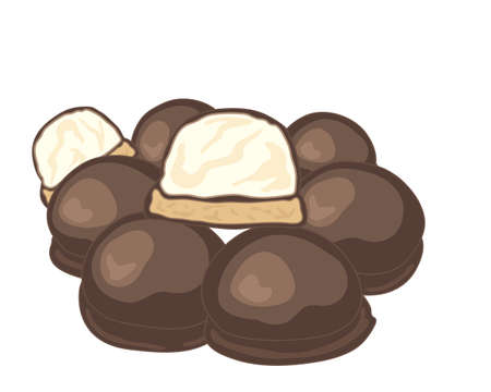 halved: an illustration of a stack of chocolate covered marshmallow biscuits with one halved on a white background Illustration