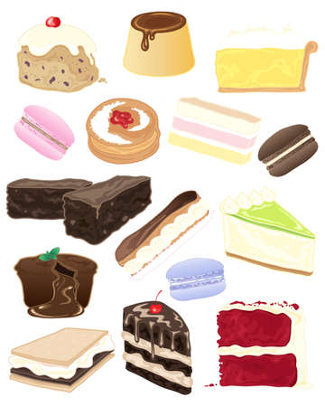 an illustration of a selection of delicious desserts and cakes on a white background