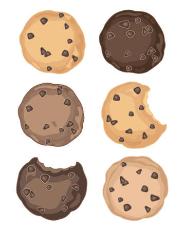 biting: an illustration of a selection of delicious chocolate chip cookies on a white background
