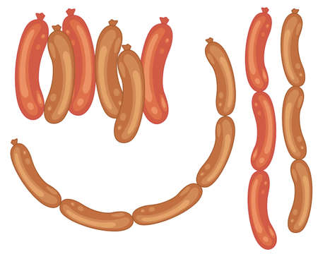 main course: an illustration of a selection of tasty sausages on a white background