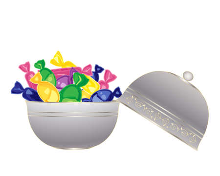 an illustration of a fancy silver bowl full of colorful wrapped sweets on a white background