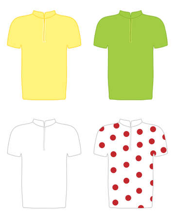 an illustration of the yellow green white and polka dot jerseys of cycling competitions Çizim