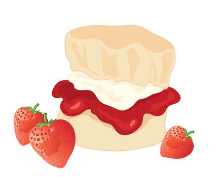 cream tea: an illustration of a delicious jam and cream scone with fresh strawberries on a white background