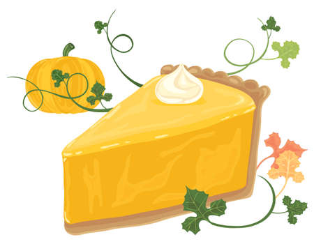 home grown: an illustration of a piece of pumpkin pie with a cream swirl vines foliage and whole pumpkin on a white background