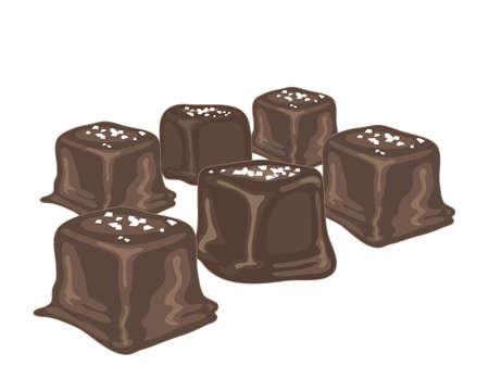 흰색 배경에 초콜릿으로 코팅 소금에 절인 카라멜 사탕의 그림 일러스트