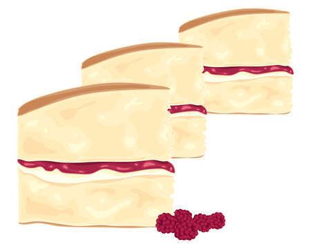 victoria: an illustration of slices of delicious victoria sponge cake with raspberry jam and cream filling on a white background
