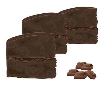 sandwich white background: an illustration of slices of chocolate sandwich cake with chunks of milk chocolate on a white background