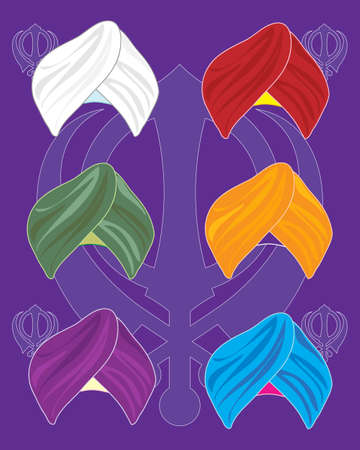 devout: an illustration of colorful turbans on a purple background with sikh symbol background