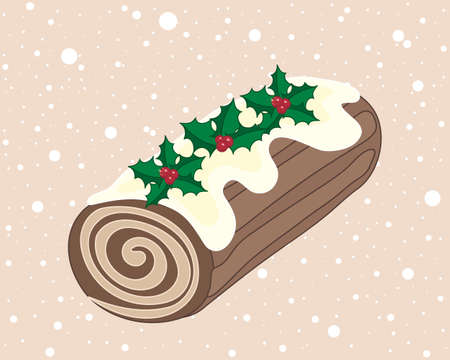 an illustration of a christmas chocolate yule log with cream swirl frosting and holly decoration on a snowy background