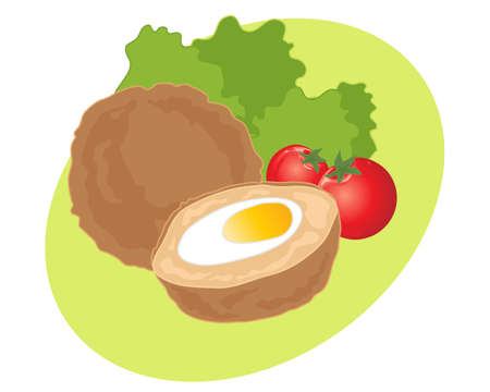 scotch: an illustration of scotch eggs lettuce and tomatoes on a lime green background