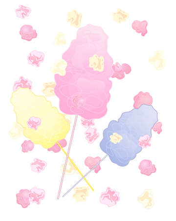 algodon de azucar: una ilustración de coloridos aperitivos de algodón de azúcar con las palomitas de maíz de color rosa sobre fondo blanco Vectores