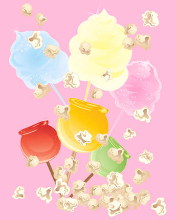 algodon de azucar: una ilustración de aperitivos dulces de algodón de azúcar, incluyendo las palomitas de maíz y dulces manzanas sobre un fondo rosa